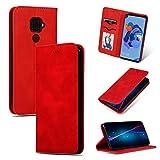GLXC AYDD Étui à rabat magnétique en cuir pour Huawei Mate 30 Lite Rouge