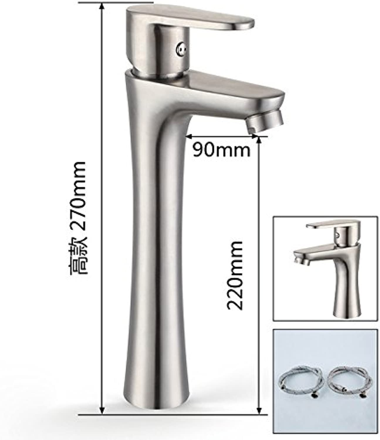 Hlluya Professional Sink Mixer Tap Kitchen Faucet Stainless Steel Basin faucet brushed hot and cold taps, high, the CS6633 60CM water inlet pipe surface basin