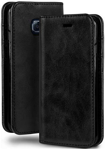 moex Booklet in Lederoptik - Kartenfächer & Aufstellfunktion kompatibel mit Samsung Galaxy S6 | Eleganter 360 Grad Vollschutz, Schwarz