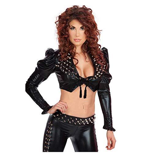 Damen Gothic Punk Nieten Leder Uniform Jacke Lederhose Gr. Einheitsgröße, XL