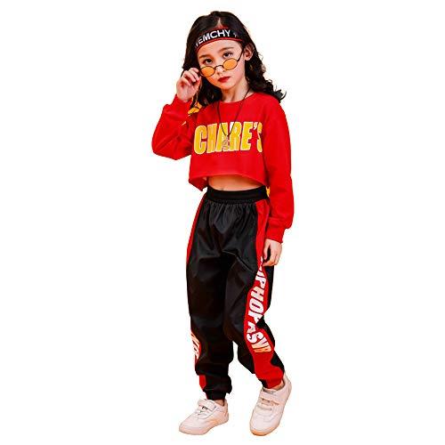 Tasty Life Filles Hip Hop Sportswear Set Printemps À Manches Longues Court Top + Bande Latérale Pantalon De Sport Hip Hop Street Dance Set Sports Casual Wear Deux Pièces(150cm,Red)