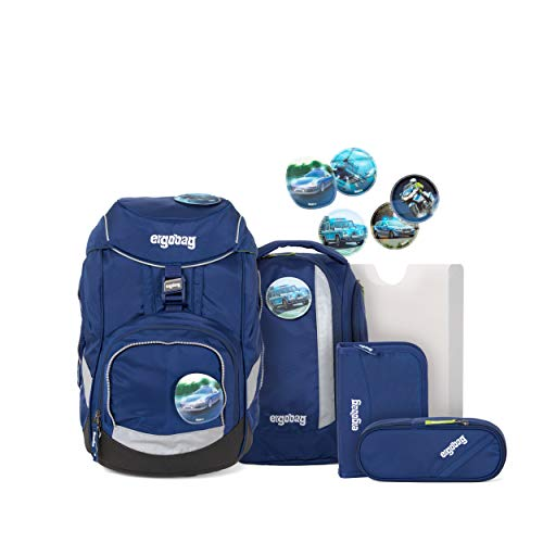 ergonomischer Schulrucksack, Set 6-teilig, 20 Liter, 1.100 g - BlauchlichtBär - Blau