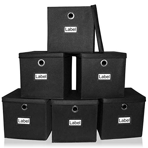 Pezin & Hulin 6 Pack Foldable Storage Cubes with Lid and Metal Eyelet Handle, Fabric Storage Bins 11 x 11 x 11 inch, Collapsible Basket Box Container, Cloth Organizer for Shelves, Closet, (Black)