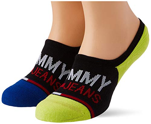 Tommy Hilfiger Tommy Jeans Show High Cut Socks (2 Pack) Calcetines, Negro/Amarillo, 43-46 Unisex Adulto
