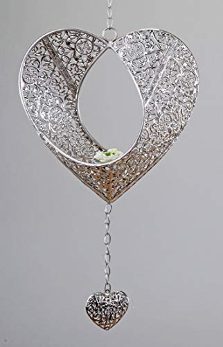 Herz Formano Hänger Deko Windlicht Teelicht Prado silber