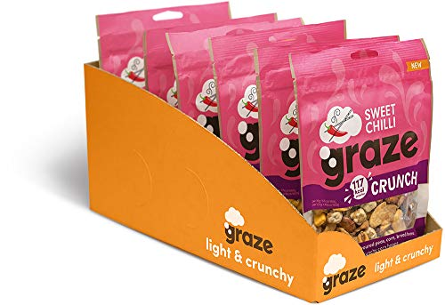 Graze Sweet Chilli Crunch - Vegan Savoury Healthy Snack Sharing Bag - 104g (Pack of 6)
