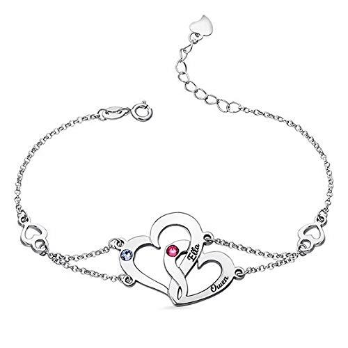 nisake Doppelte Kette Herz Armband Graviert Armreif Charms mit 2 Namen und 2 Simulierten Geburtssteine Christmas Valentine Schmuck Geschenk für Frauen