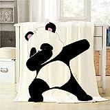 Mugod Cartoon Panda Throw Blanket Black and White Dabbing Panda Decorative Soft Warm Cozy Flannel Plush Throws Blankets for Baby Toddler Dog Cat 30 X 40 Inch