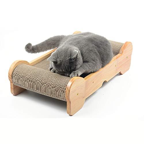 MAFANG Kratzbrett Für Katzen, Kratzmatte Kratzpappe Mit Katzenminze, Kratzbretter Katzen Für Kleine Mittlere Katze, Doppelseitig Haltbarer Holzstruktur Kitty Kratz Pads Katzenliege