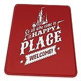 N\A Magic Kingdom - Alfombrilla de ratón Happy Place de Walt 'S Base de Goma Antideslizante para computadora de Juegos de Oficina con Borde Cosido