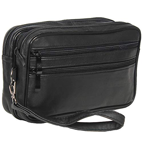 Sotala Herren Handgelenktasche aus Leder mit viel Platz für Deine wichtigen Sachen, Wasserabweisendes Material - Praktische Handtasche in Schwarz