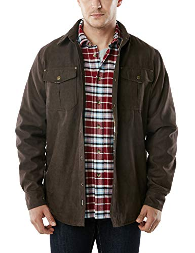 CQR Men's Flannel Lined Shirt Jackets, Long Sleeved Rugged Plaid Cotton Brushed Suede Shirt Jacket, Flannel Lined(hok700) - Calf Brown, M