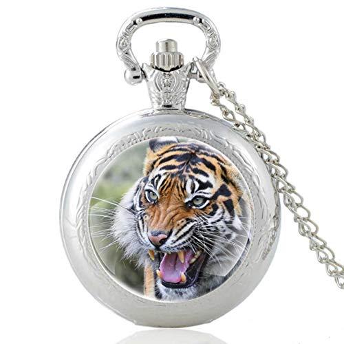ZDANG Reloj de Bolsillo de Cuarzo Vintage con diseño de Tigre Feroz, cúpula de Cristal, Reloj clásico para Hombres y Mujeres, Reloj de Horas, Plateado