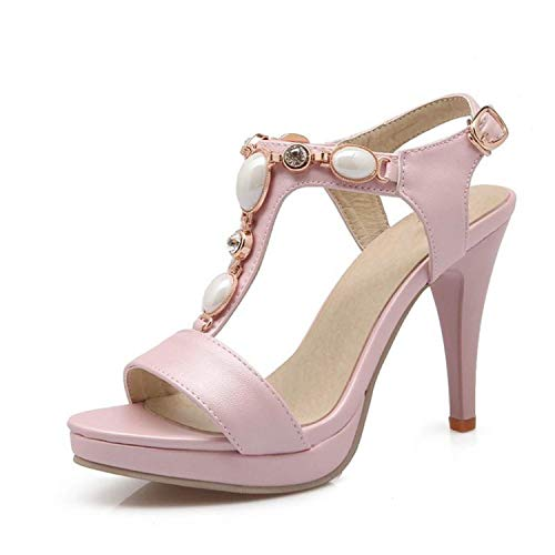 QianQianStore 4 Colors Office Ladies Platform High Heel Sandals Beaded Ankle Strap Spike Heel Sandals Shoes,Pink,9.5