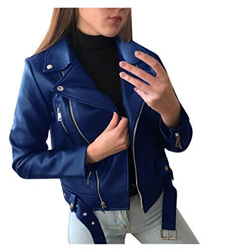 Dasongff Damen PU Lederjacke Bikerjacke mit Reißverschluss, Kurze Jacke für Herbst, Frühling