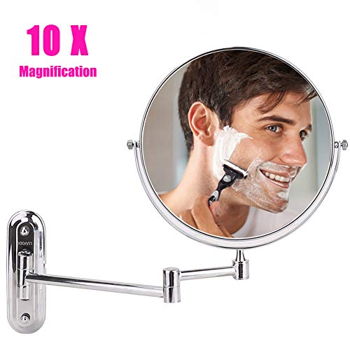 LUVODI Wall Mount Makeup Mirror with 10X Magnification, 8 Inch Two-Sided Swivel -