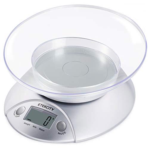 ETEKCITY EK3550 Báscula Digital para Cocina con Tazón Removible, 5 kg / 11 lbs, Balanza Digital de Alimentos Multifuncional con Bol Removible, Plataforma de Acero Inoxidable, Baterías Incluidas