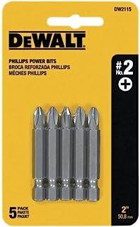 DEWALT Screwdriver Set, #2 Phillips, 2-Inch Power Bit, 5-Pack (DW2115)