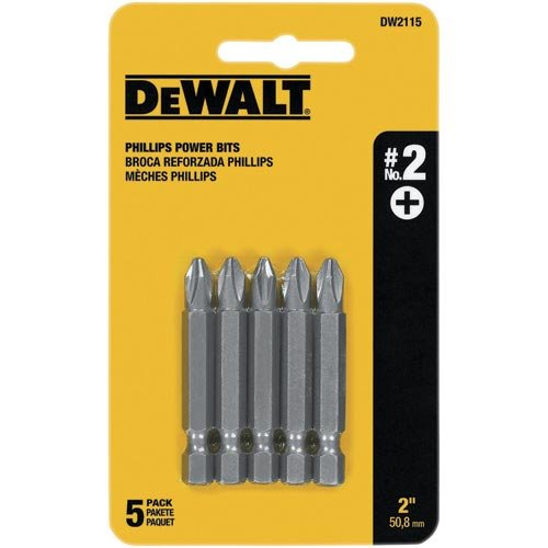 DEWALT Screwdriver Set, #2 Phillips, 2-Inch Power Bit, 5-Pack (DW2115)
