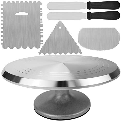 Plato giratorio de aluminio para tartas, soporte giratorio de 30,5 cm con 2 espátulas de glaseado y 3 peinetas de acero inoxidable para hornear pasteles