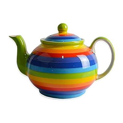 CinMin Rainbow Large Striped Ceramic Stoneware Handpainted Striped Teapot, 40 ounce