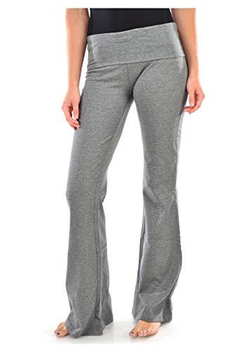 Mopas Women's Gray Fold Over Yoga Pants