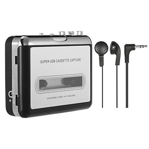 Andoer Cassete USB Captura de fita Cassete Conversor de fita para MP3 em computador Estéreo HiFi Qualidade de som Mega Bass Audio Music Player com fone de ouvido