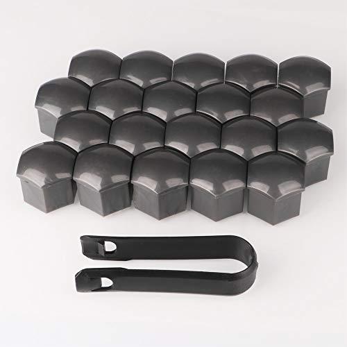 Gebildet 20pcs 21mm Universal Tapa de Tuerca de Rueda,Tapas para Tornillos de Rueda,Cubierta de Tuerca de Neumático con Extractor(Gris)