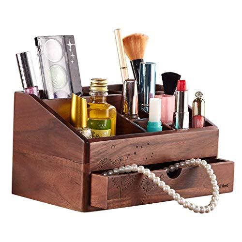 ZXL Organisateur cosmétique Bijoux étagère de boîte de Rangement en Bois boîte à cosmétiques Bureau Finition boîte à Bijoux Rack de Stockage de Rouge à lèvres (Couleur: Bois a, Taille: 22 * 13
