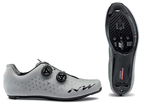 Northwave Revolution 2 Zapatos de Bicicleta de Carretera Reflectante DE Plata, Tamaño:gr. 47