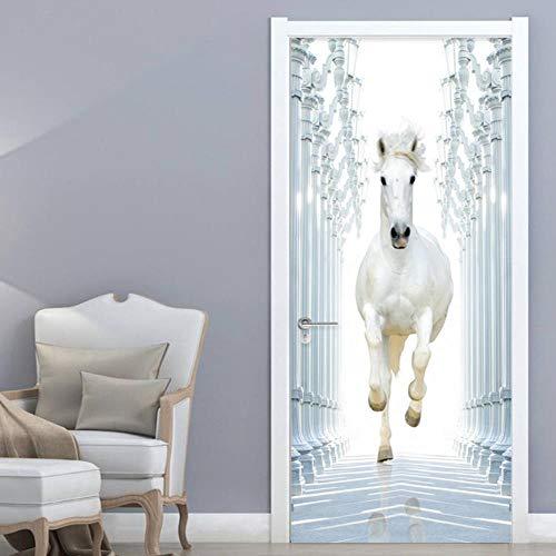 XXXCH 3D Türaufkleber 80X200CM weißes Pferd Türtapete selbstklebend TürPoster - Fototapete Türfolie Poster Tapete Meer Aufkleber DIY Selbstklebende Wandbild PVC Wasserdichte Tapete