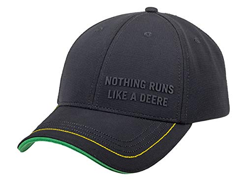 John Deere Pique Cap Nothing Runs Like a Deere mit Gummidruck Schwarz