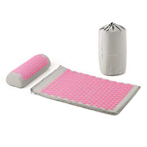 Navaris 2in1 Akupressur Massage Set - Akupressurmatte und Kissen mit Tasche - Akupressur Matte Kopfkissen - Grau Pink