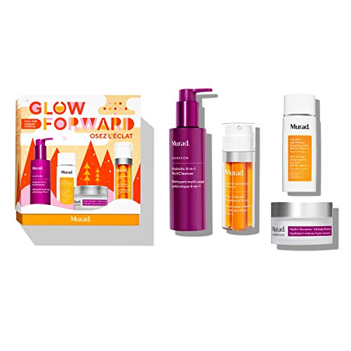 Murad Glow Forward Full-Size Holiday Set with Prebiotic 4-in-1 MultiCleanser, Vita-C Glycolic Brightening Serum, Hydro-Dynamic Ultimate Moisture and City Skin Age Defense Broad Spectrum SPF 50