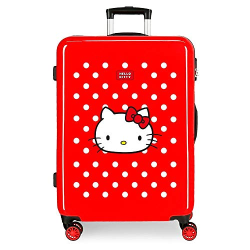 Maleta MedianaCastle of Hello Kitty rígida 68cm Rojo