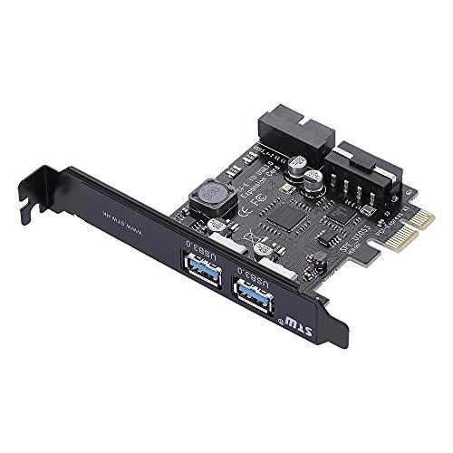 Staright STW PCI-E a USB 3.0 Tarjeta PCI Express de 2 Puertos Mini PCI-E Adaptador de concentrador USB 3.0 con Conector Interno de USB 3.0 de 19 Pines y Conector de Puerto Dual de 5 v 4 Pines ho