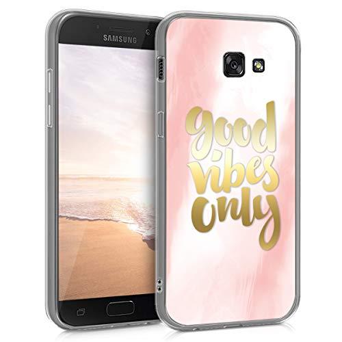 kwmobile Funda Compatible con Samsung Galaxy A5 (2017) - Carcasa de TPU y con Mensaje Positivo en Rosa Claro/Dorado/Blanco