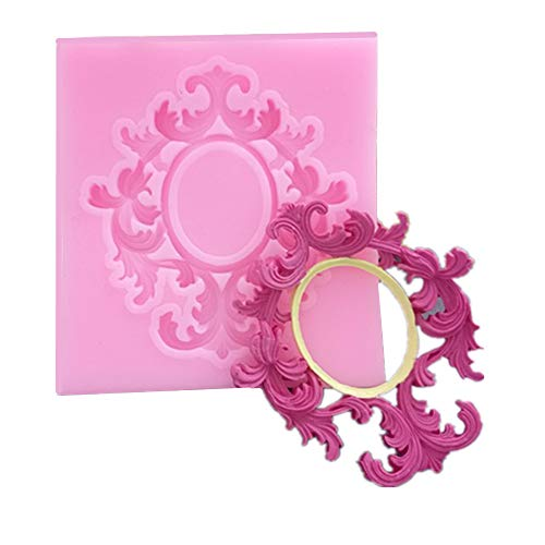 Yhjkvl Molde de silicona para tartas en relieve, marco de fotos, molde de silicona para fondant, pasta de goma, decoración de cupcakes