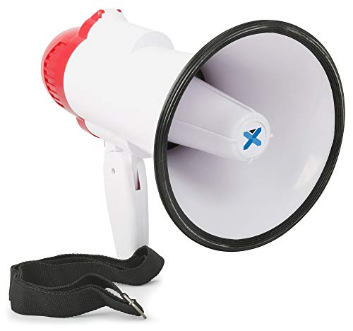 Vexus MEG020 Megafon 20W Megaphon mit Aufnahme-Funktion (Sirene, Batterie-Betrieb, inkl. Kordel, Pistolen-Handgriff, inkl. Tragekordel) rot-weiß