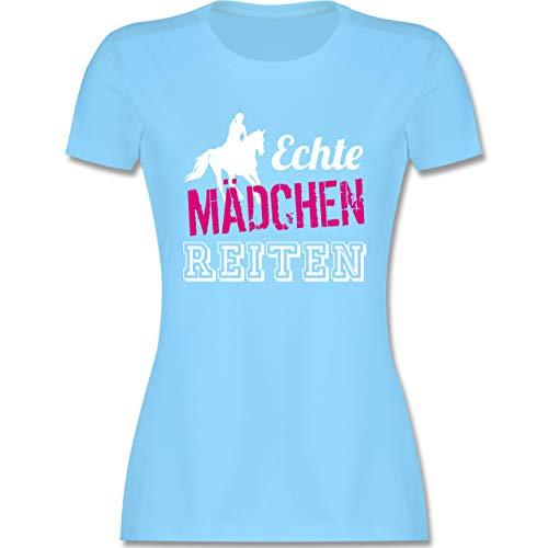 Reitsport - Echte Mädchen reiten - S - Hellblau - Tshirt mädchen echte mädchen reiten - L191 - Tailliertes Tshirt für Damen und Frauen T-Shirt