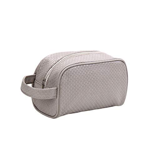 Fovor Trousse de maquillage portable en PU Motif tissé, gris (Gris) - Fovor