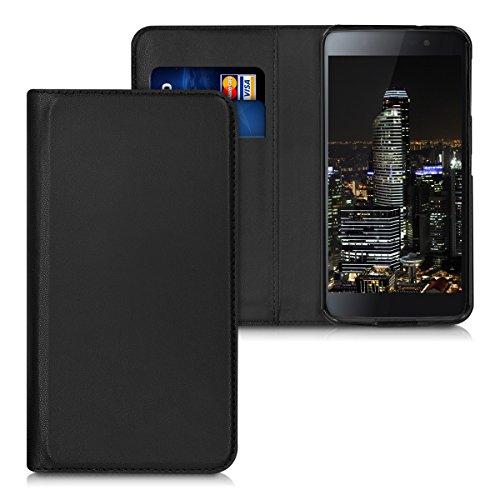 kwmobile Hülle für Blackberry DTEK50 - Flipcover Case Handy Schutzhülle Kunstleder - Bookstyle Flip Cover Schwarz
