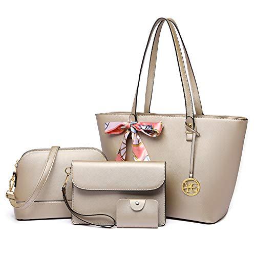 YeumouG Handtasche Damen Shopper Schultertasche Umhängetasche Damen Geldbörse Tragetasche Groß Schwarz Leder Damen Tasche 4-teiliges Set für Büro Tote für Büro Schule (Golden)