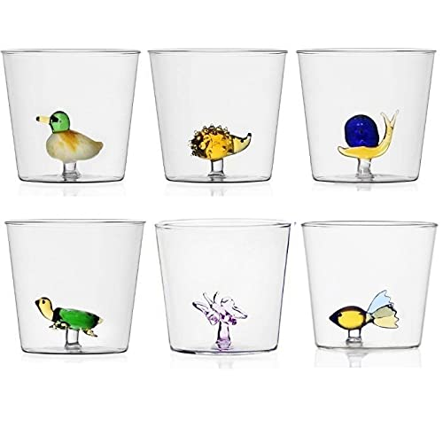 Set 6 bicchieri da acqua decorati Animali Animal Farm fantasia terra cielo