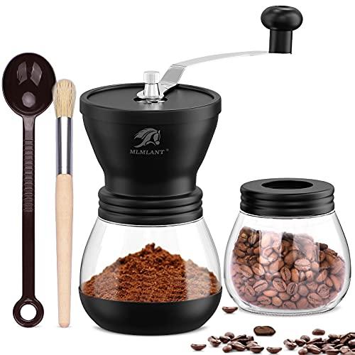 MLMLANT Molinillo de café en grano manual | Molino de cerámica de rugosidad ajustable | Molino de café de mano | Manivela compacta para el hogar, la oficina y amp; De viaje