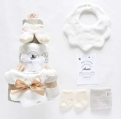 Light gray 名入 生年月日 おむつケーキ オーガニック 24枚 出産祝い 男の子 女の子 (パンパースMテープ)