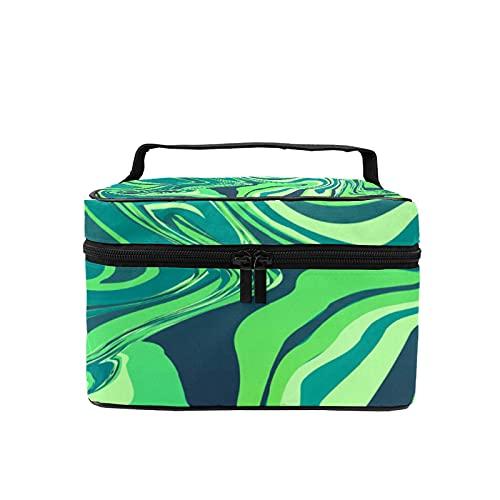 Reise-Make-up-Tasche, große Kosmetiktasche, Marmorier-Textur, Make-up-Tasche mit Netztasche für Frauen und Mädchen