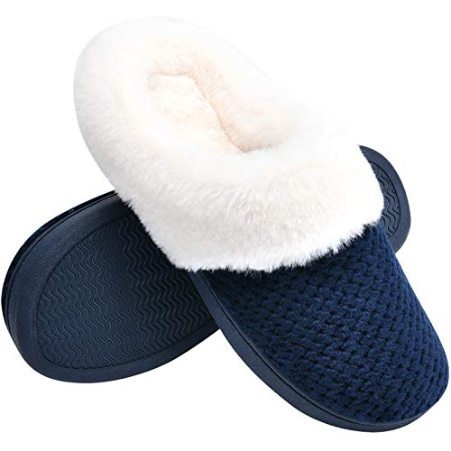Temi Women s Soft Warm Memory Foam Slippers,Faux Fur Lined Fluffy Slip On House Shoes with Indoor Outdoor Anti-Skid Rubber Sole Navy