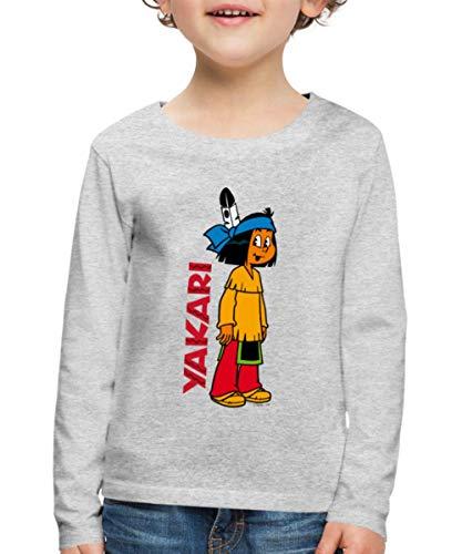 Yakari Stehend Logo Kinder Premium Langarmshirt, 110-116, Grau meliert
