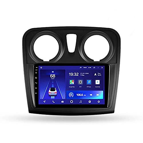 Bluetooth Autoradio with 9'' Android 10 Für Renault Logan 2/Sandero 2 2012-2019,Unterstützt 4G LTE+5G WIFI/3D Echtzeit-Fahrdynamik/Carplay/ Rückfahrkamera/GPS Navigation/Lenkradsteuerung,B,2+32G